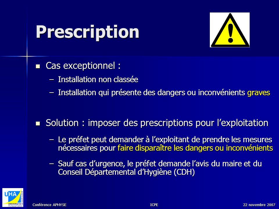 Prescription Cas exceptionnel :