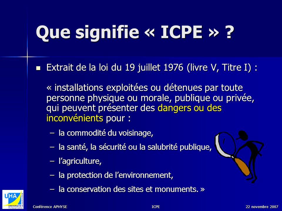 Que signifie « ICPE »