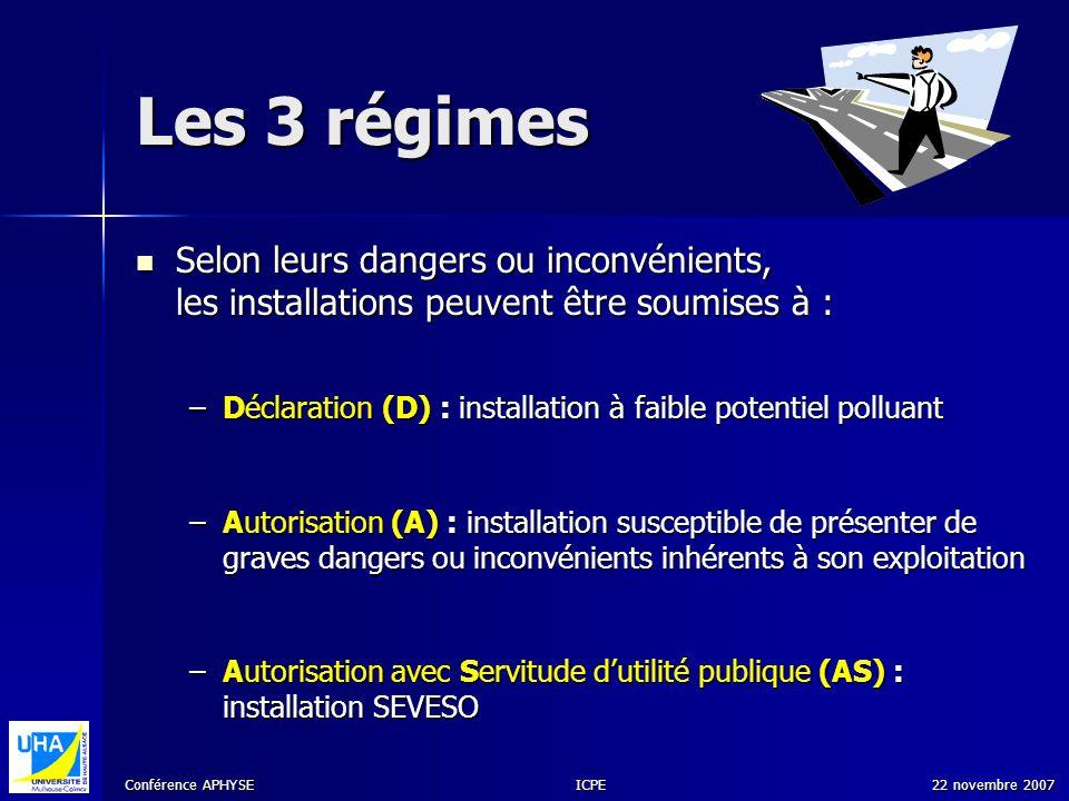 Les 3 régimes Selon leurs dangers ou inconvénients, les installations peuvent être soumises à :