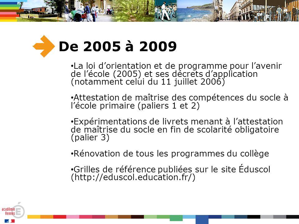 De 2005 à 2009 La loi d'orientation et de programme pour l'avenir de l'école (2005) et ses décrets d'application (notamment celui du 11 juillet 2006)