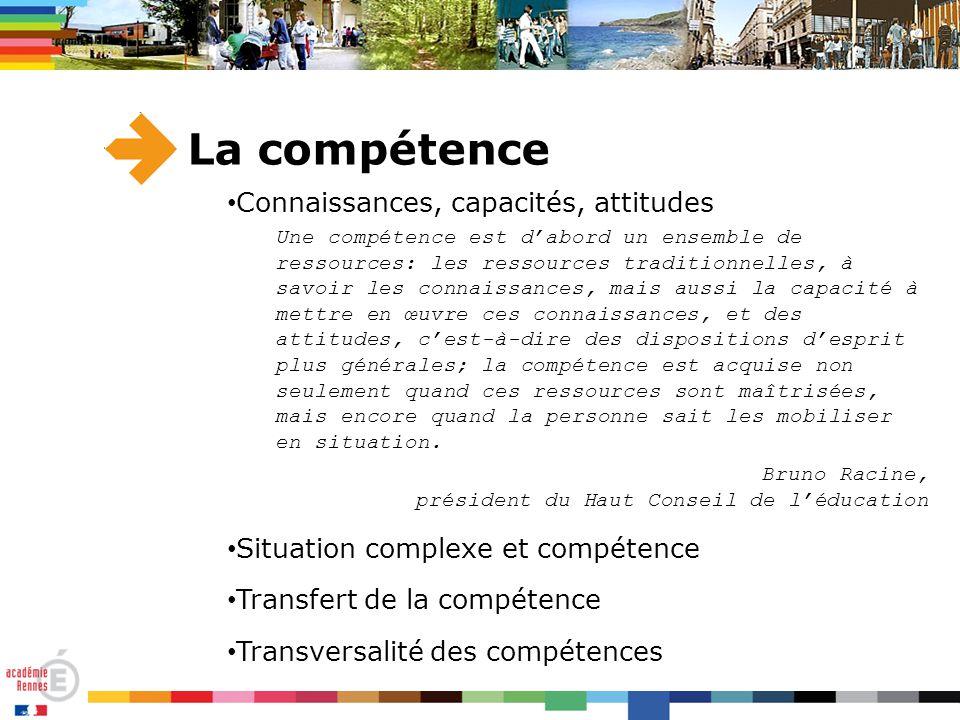 La compétence Connaissances, capacités, attitudes