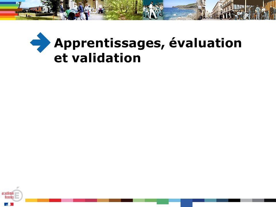 Apprentissages, évaluation et validation