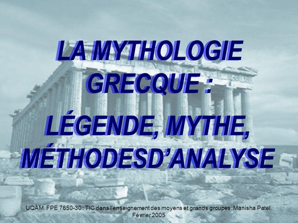 LA MYTHOLOGIE GRECQUE :