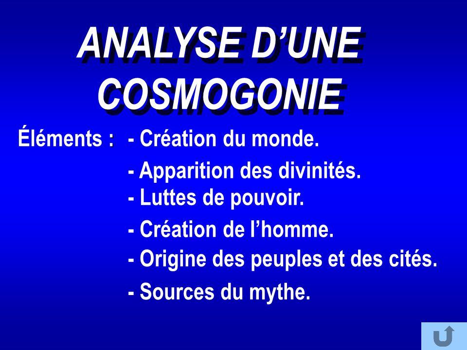 ANALYSE D'UNE COSMOGONIE