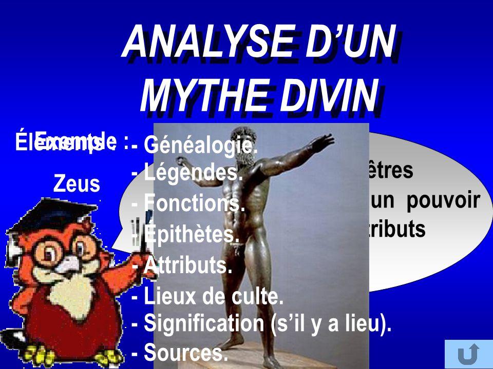 ANALYSE D'UN MYTHE DIVIN - Signification (s'il y a lieu).