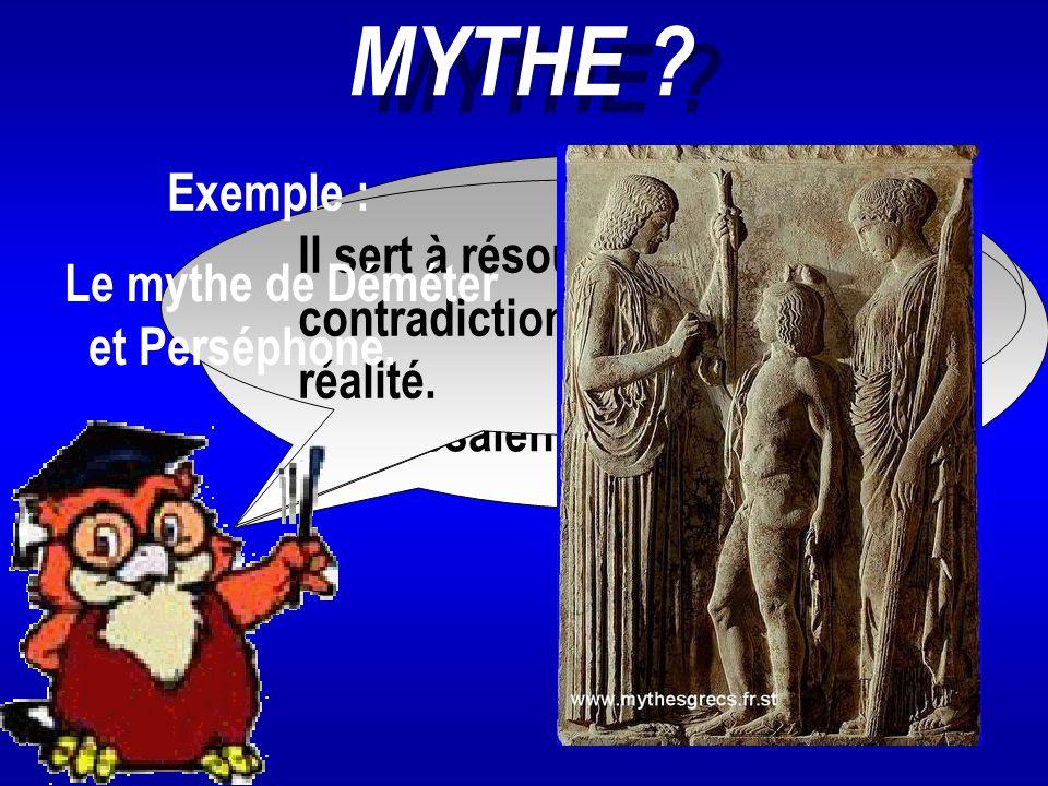 MYTHE Exemple : Il est produit par l'imagination
