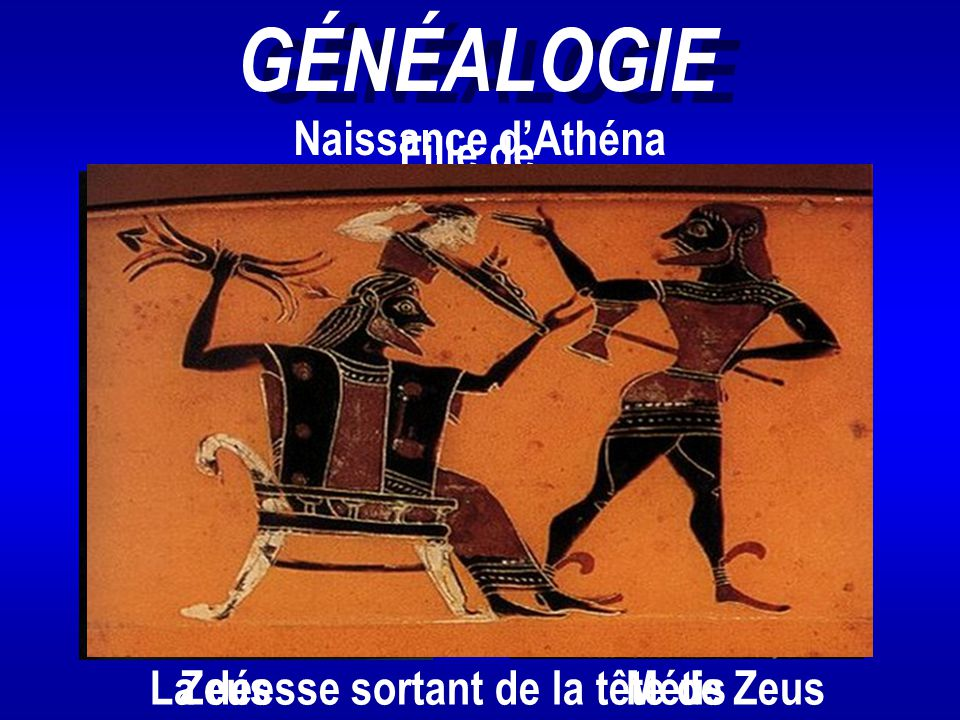 GÉNÉALOGIE Naissance d'Athéna Fille de et
