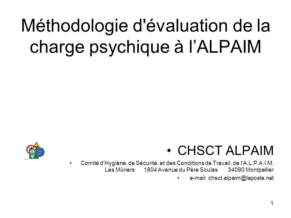 Méthodologie d évaluation de la charge psychique à l'ALPAIM