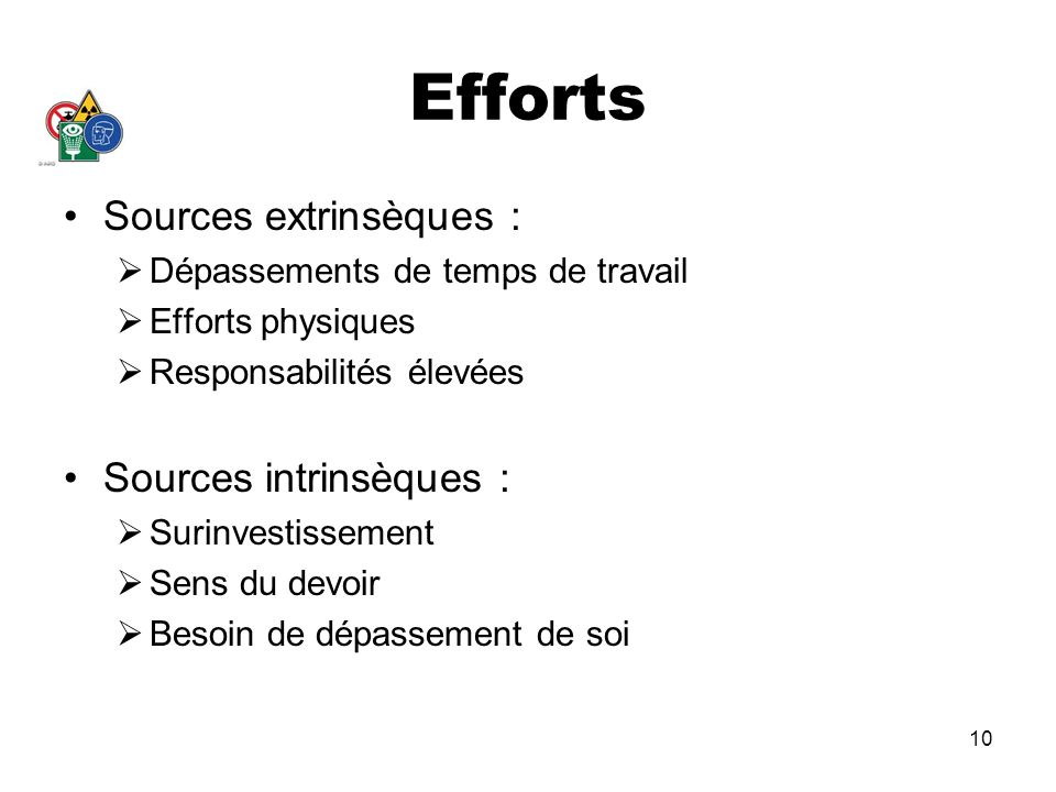 Efforts Sources extrinsèques : Sources intrinsèques :