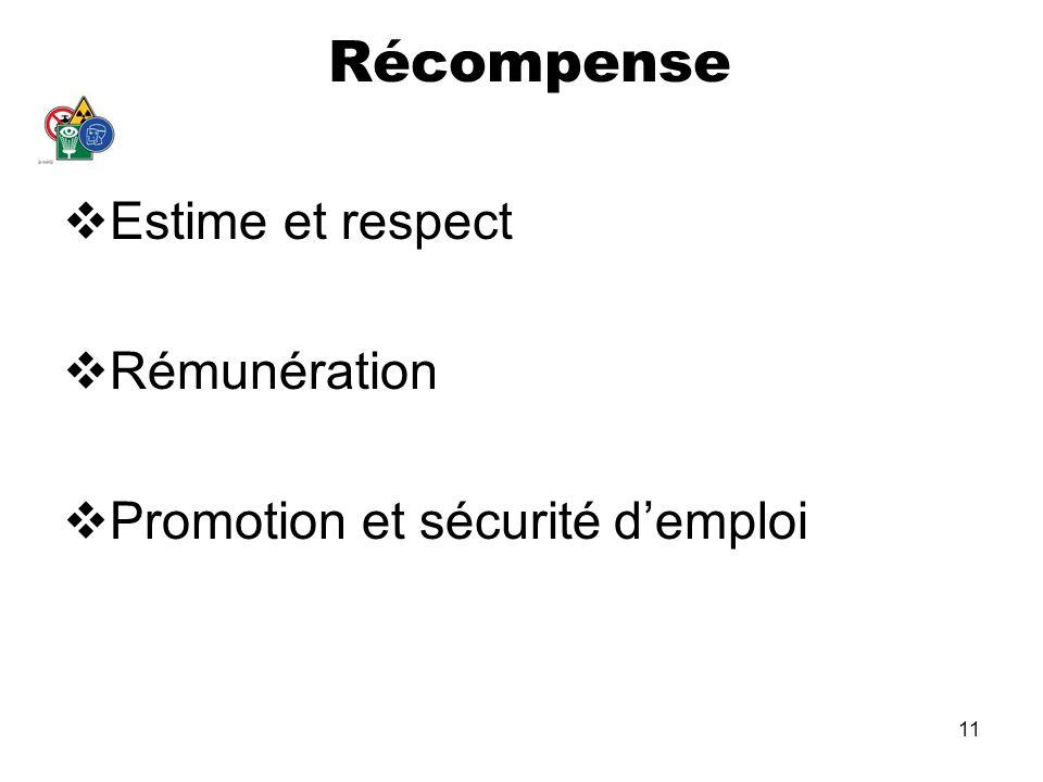 Récompense Estime et respect Rémunération