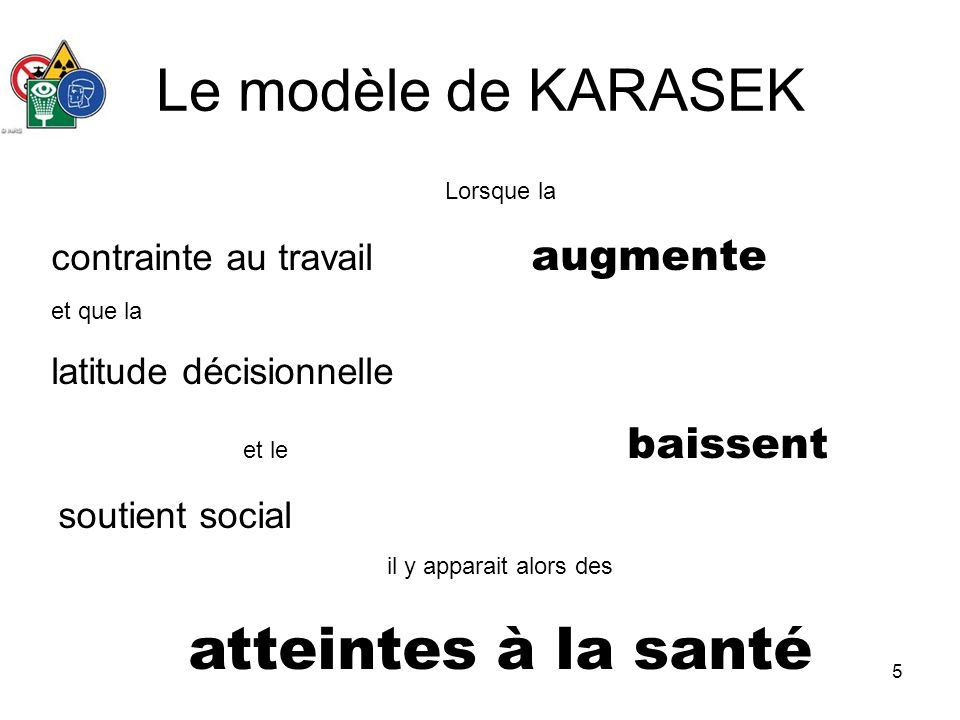 Le modèle de KARASEK atteintes à la santé