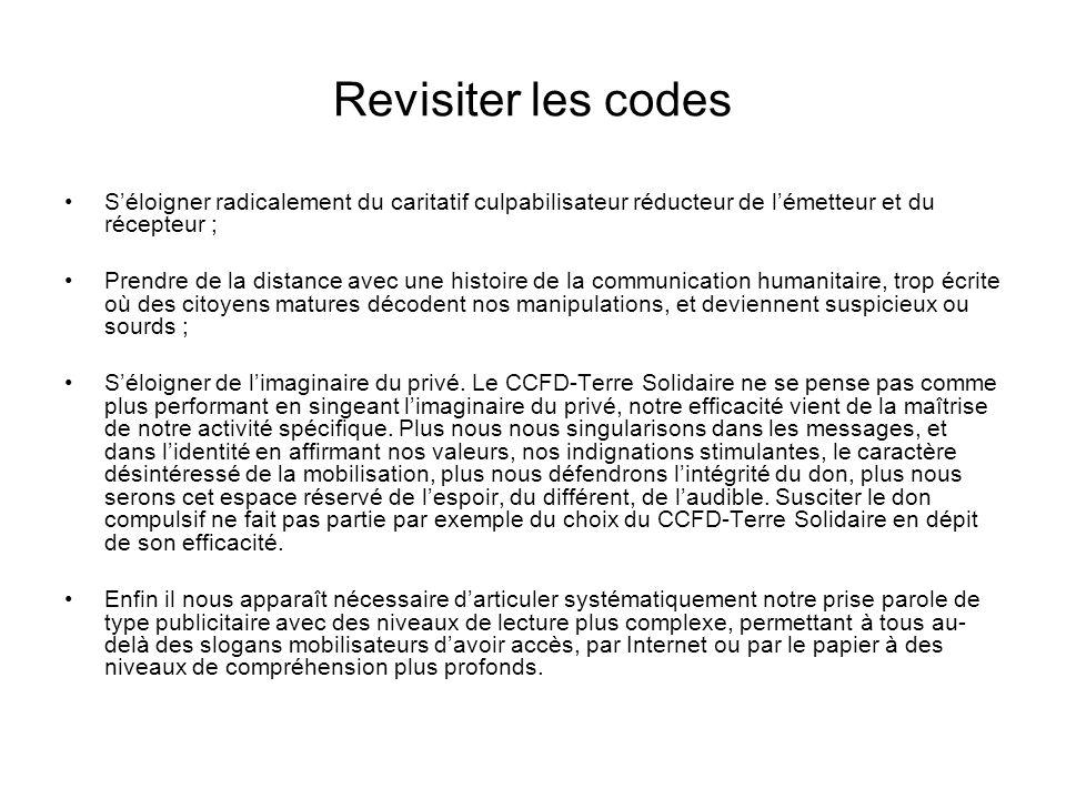 Revisiter les codes S'éloigner radicalement du caritatif culpabilisateur réducteur de l'émetteur et du récepteur ;