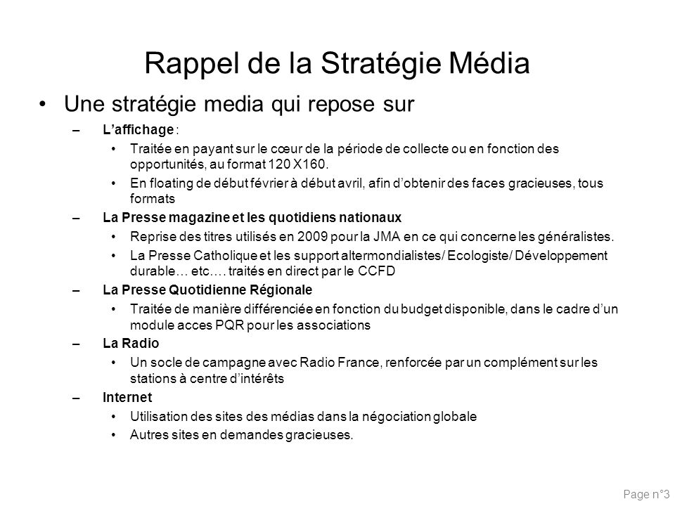 Rappel de la Stratégie Média