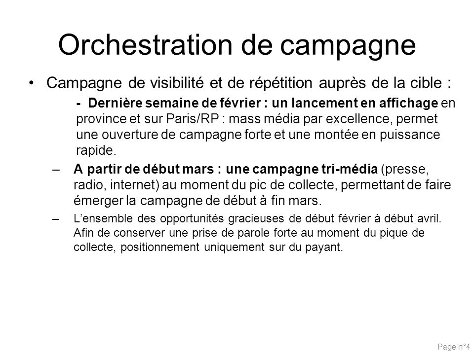 Orchestration de campagne