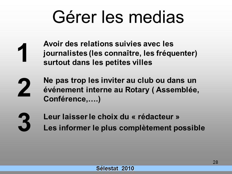 Gérer les medias 1. Avoir des relations suivies avec les journalistes (les connaître, les fréquenter) surtout dans les petites villes.