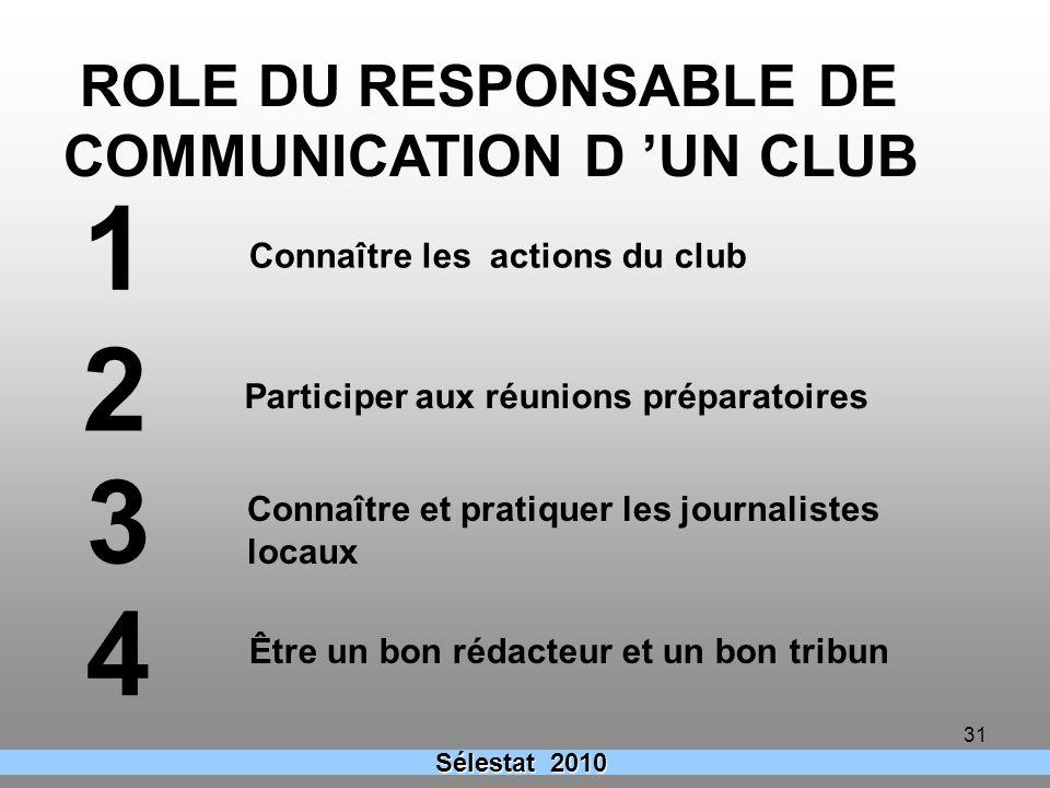1 2 3 4 ROLE DU RESPONSABLE DE COMMUNICATION D 'UN CLUB