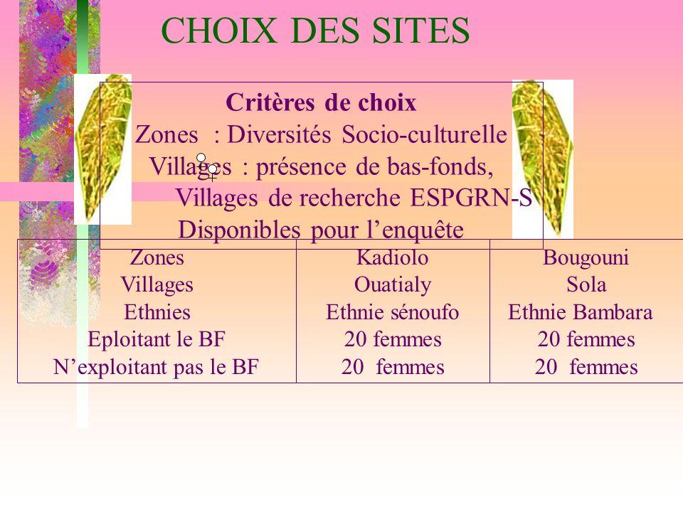 CHOIX DES SITES Critères de choix Zones : Diversités Socio-culturelle