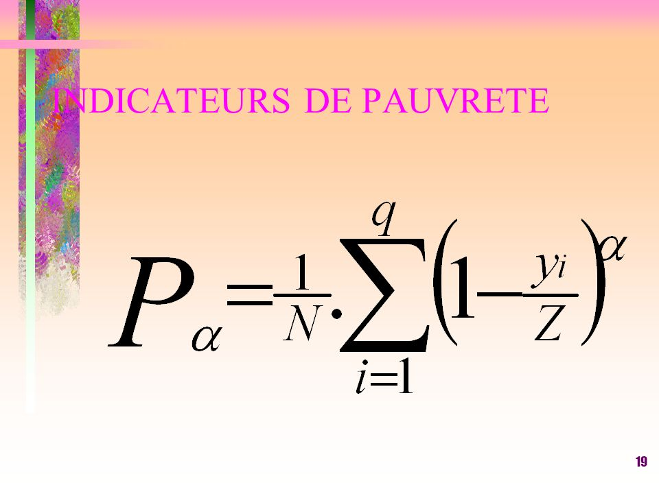 INDICATEURS DE PAUVRETE