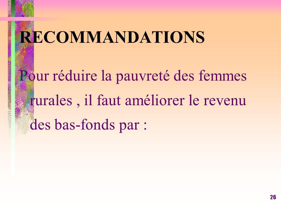 RECOMMANDATIONS Pour réduire la pauvreté des femmes rurales , il faut améliorer le revenu des bas-fonds par :
