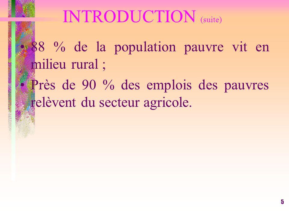 INTRODUCTION (suite) 88 % de la population pauvre vit en milieu rural ; Près de 90 % des emplois des pauvres relèvent du secteur agricole.