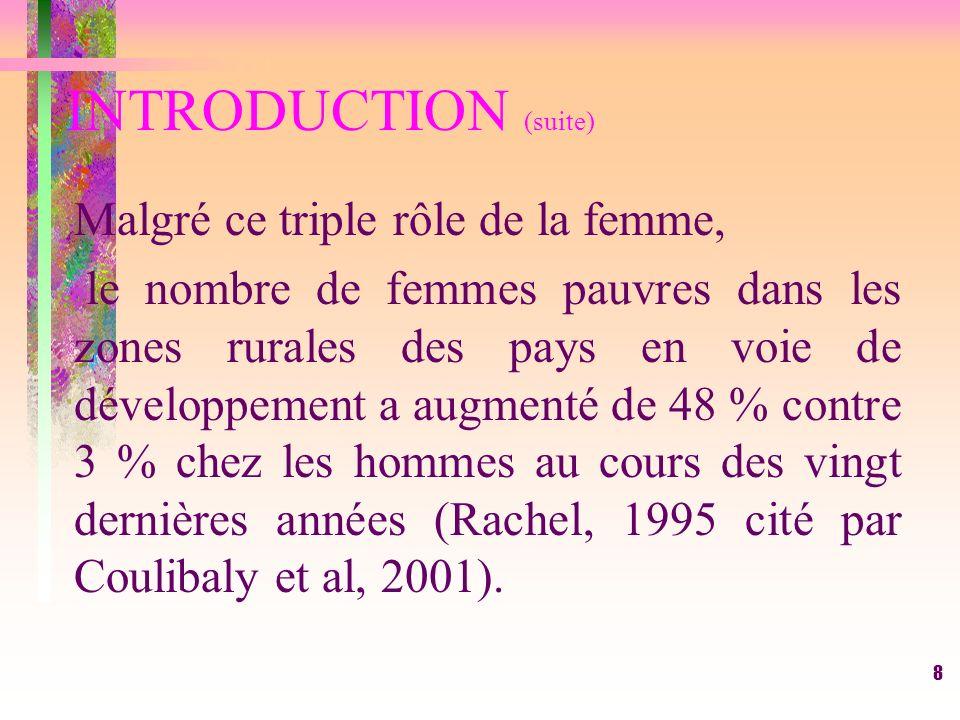 INTRODUCTION (suite) Malgré ce triple rôle de la femme,
