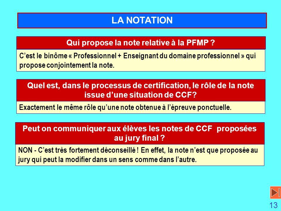 Qui propose la note relative à la PFMP