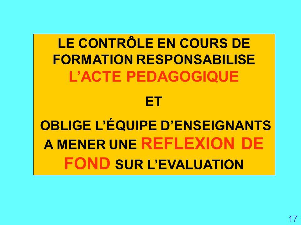LE CONTRÔLE EN COURS DE FORMATION RESPONSABILISE L'ACTE PEDAGOGIQUE