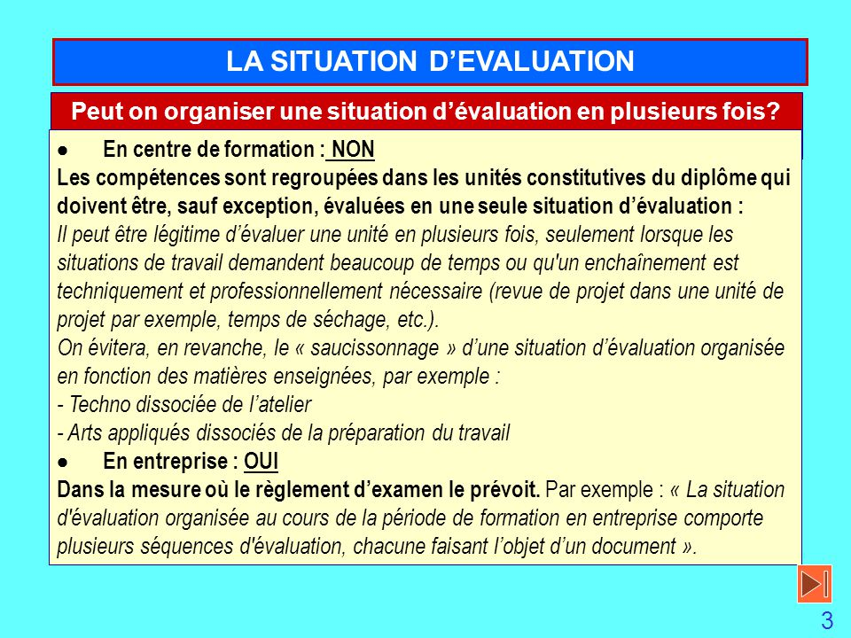 LA SITUATION D'EVALUATION