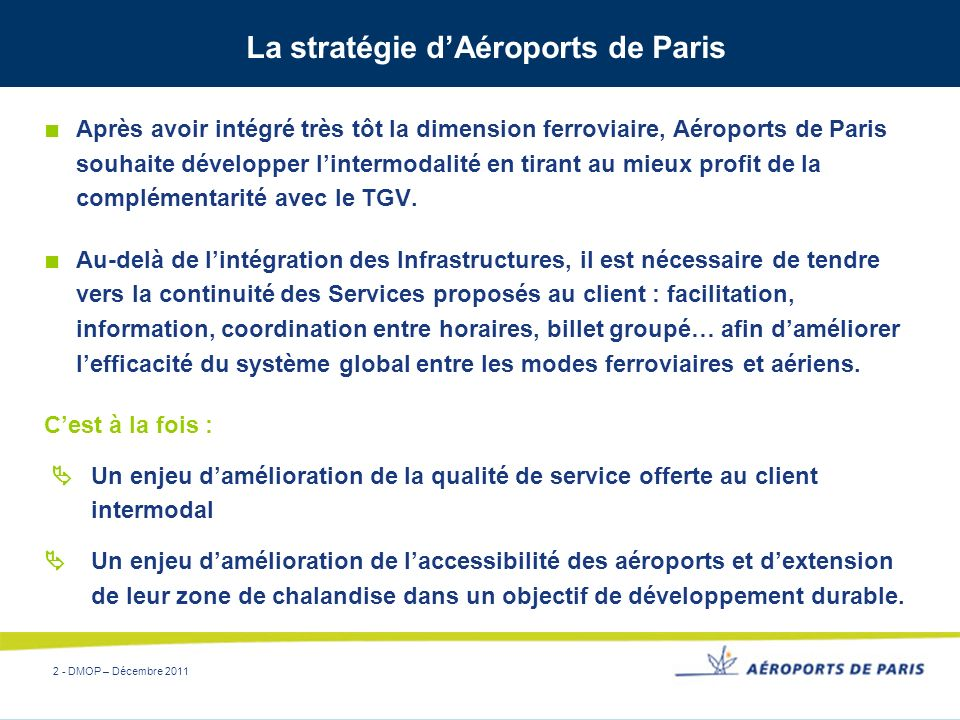 La stratégie d'Aéroports de Paris