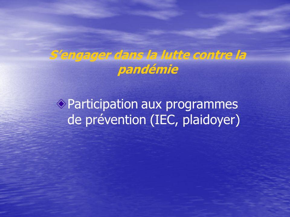 S'engager dans la lutte contre la pandémie