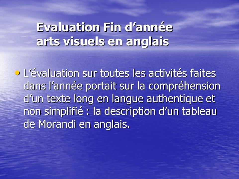 Evaluation Fin d'année arts visuels en anglais
