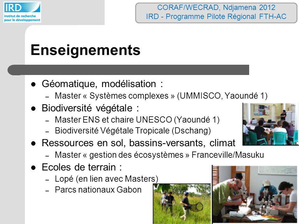 Enseignements Géomatique, modélisation : Biodiversité végétale :