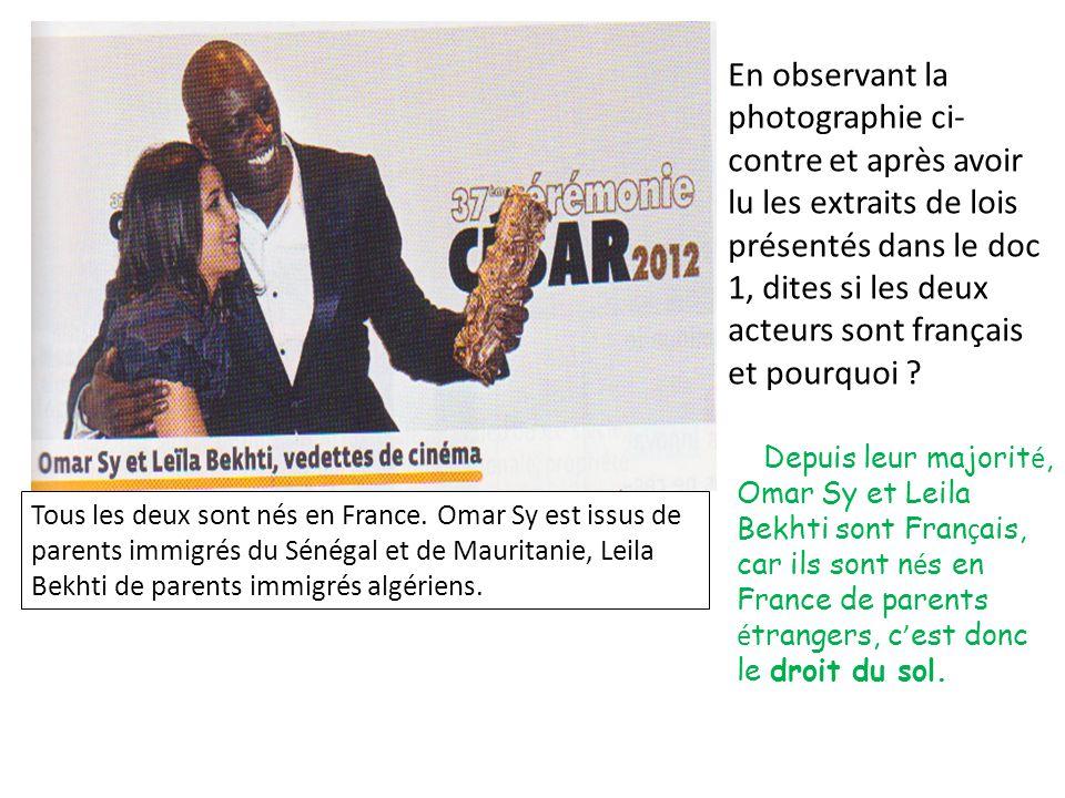 En observant la photographie ci-contre et après avoir lu les extraits de lois présentés dans le doc 1, dites si les deux acteurs sont français et pourquoi