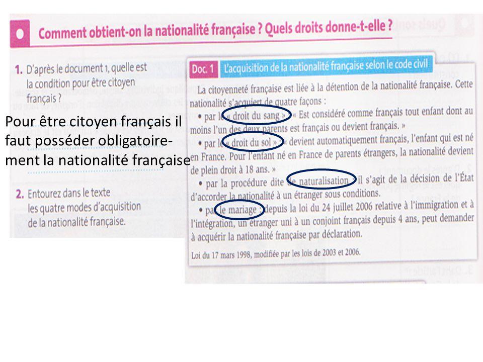 Pour être citoyen français il faut posséder obligatoire-