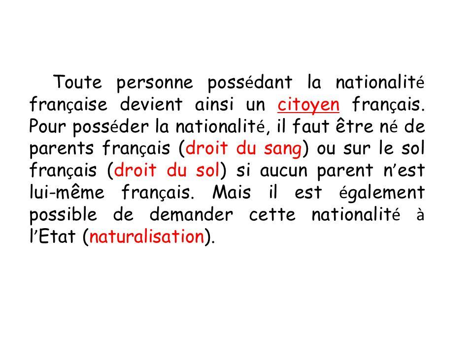 Toute personne possédant la nationalité française devient ainsi un citoyen français.