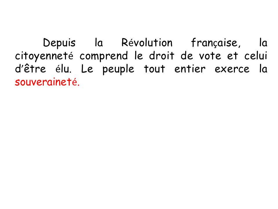 Depuis la Révolution française, la citoyenneté comprend le droit de vote et celui d'être élu.