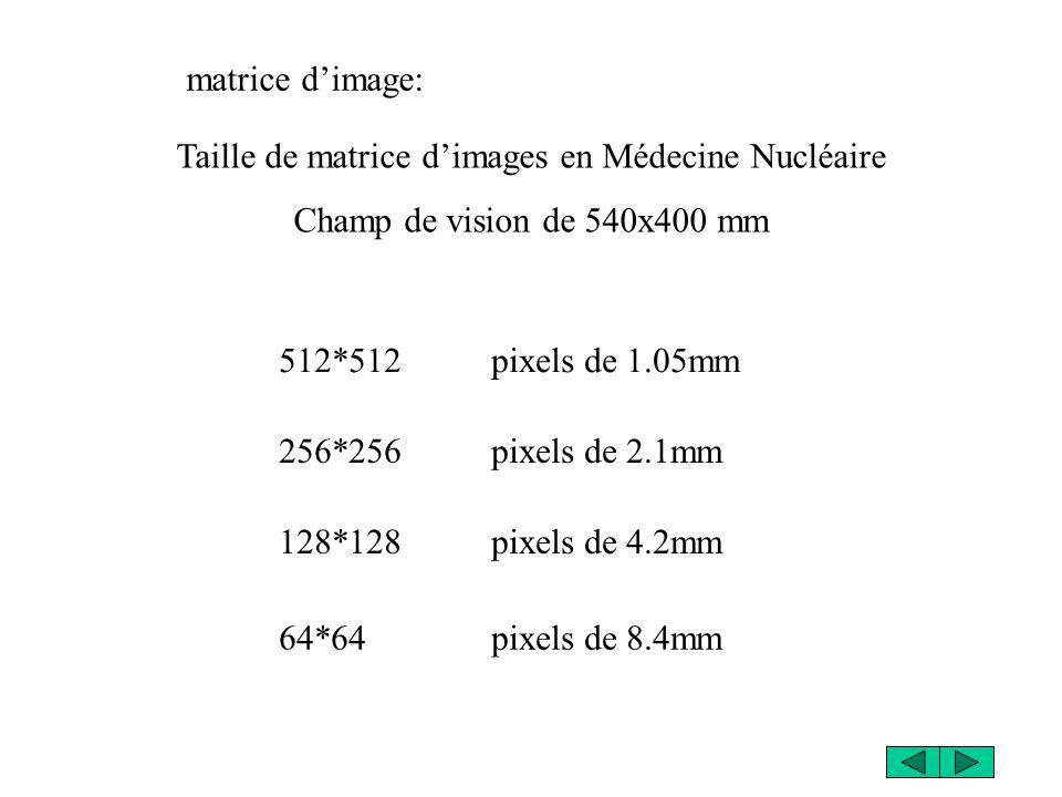 Taille de matrice d'images en Médecine Nucléaire