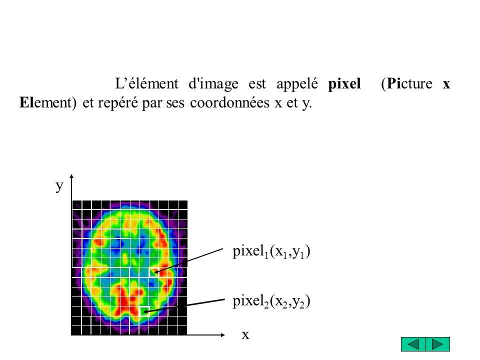 L'élément d image est appelé pixel (Picture x Element) et repéré par ses coordonnées x et y.