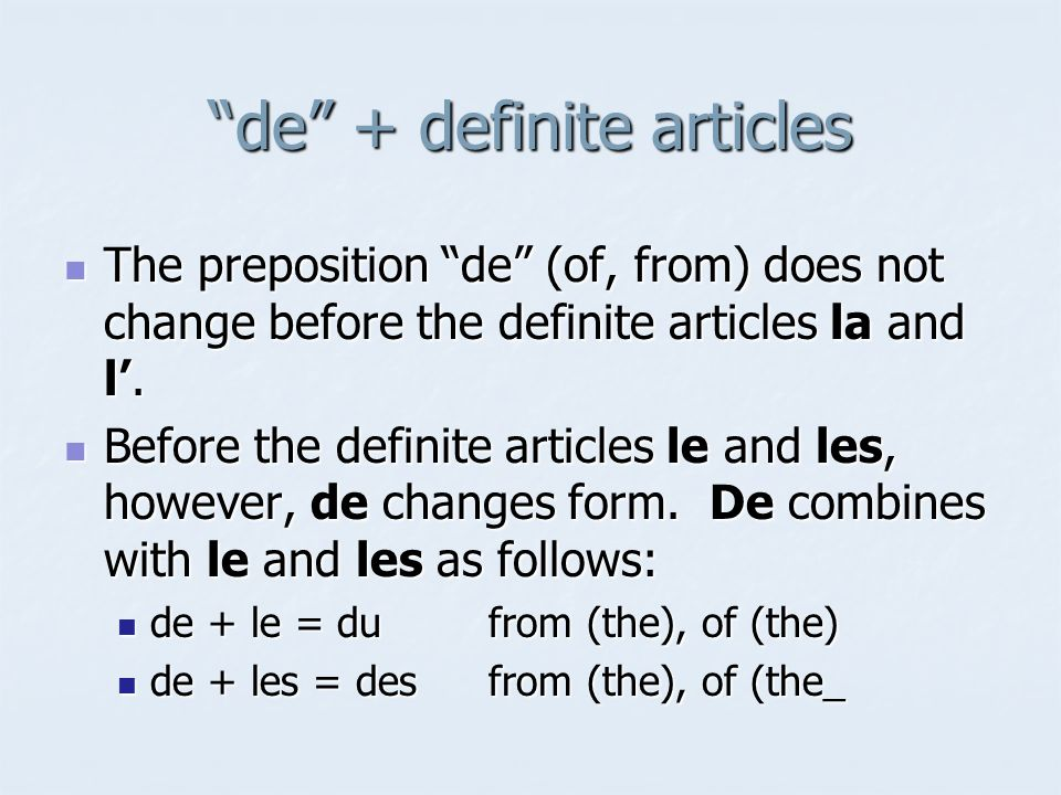 de + definite articles