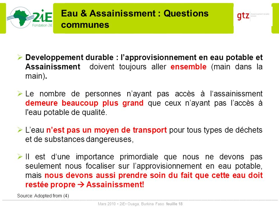 Eau & Assainissment : Questions communes
