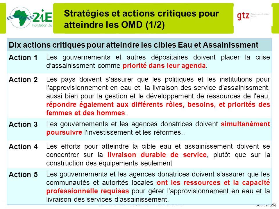 Stratégies et actions critiques pour atteindre les OMD (1/2)