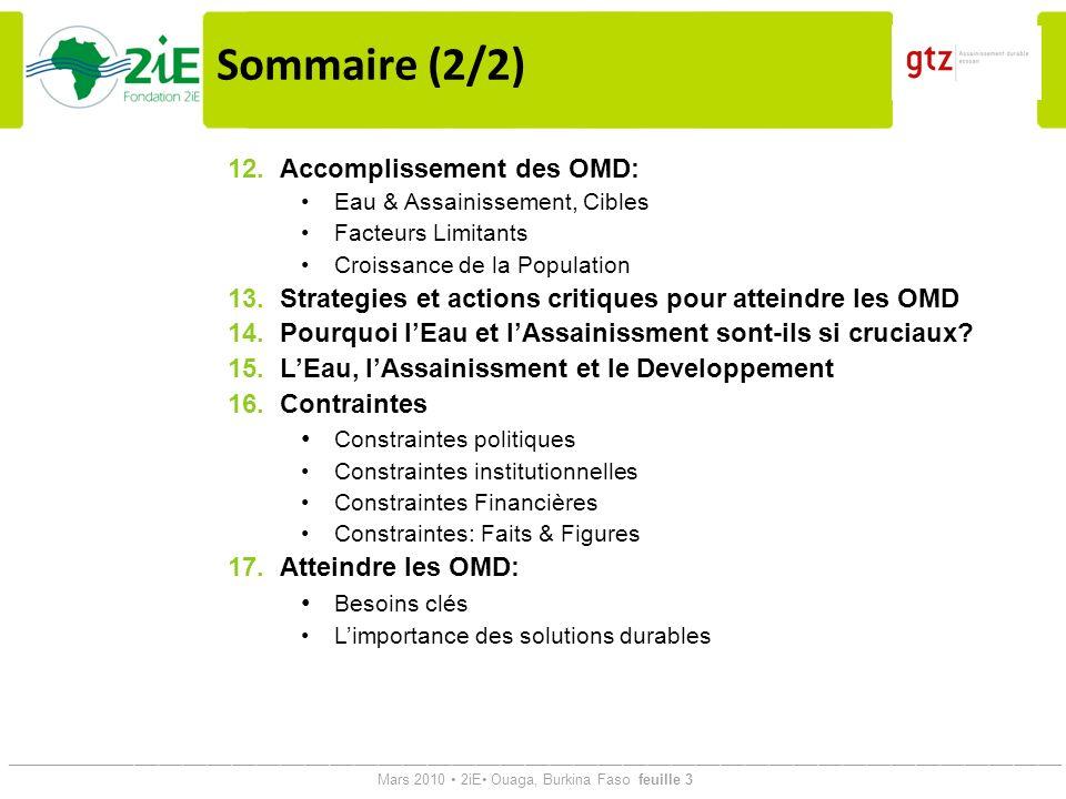 Sommaire (2/2) Accomplissement des OMD: