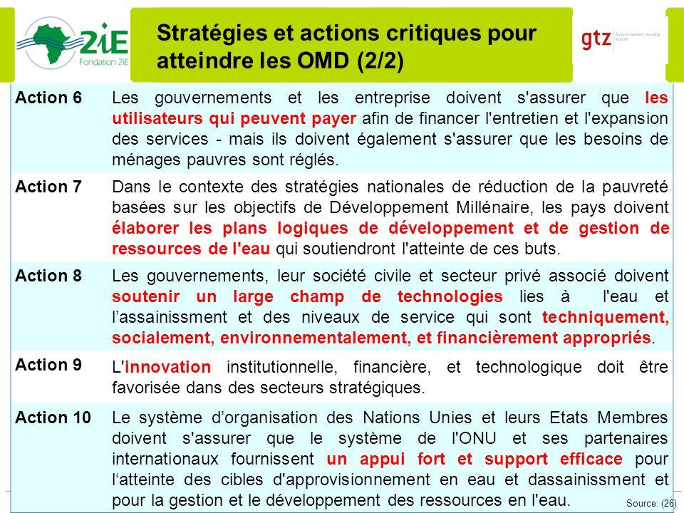 Stratégies et actions critiques pour atteindre les OMD (2/2)