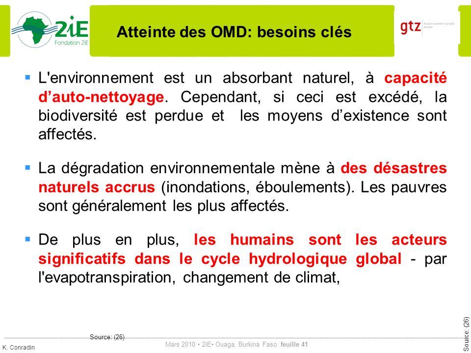 Atteinte des OMD: besoins clés
