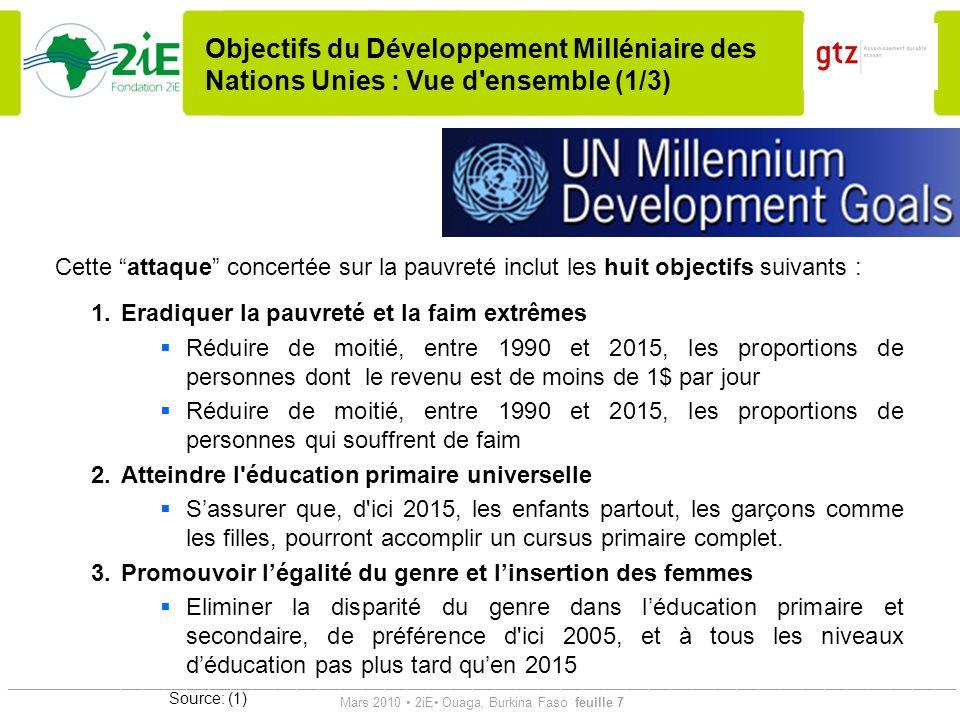 Objectifs du Développement Milléniaire des Nations Unies : Vue d ensemble (1/3)