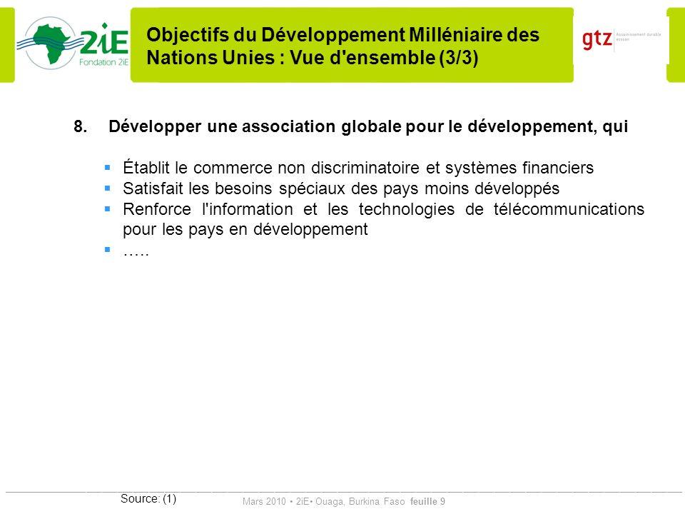 Objectifs du Développement Milléniaire des Nations Unies : Vue d ensemble (3/3)