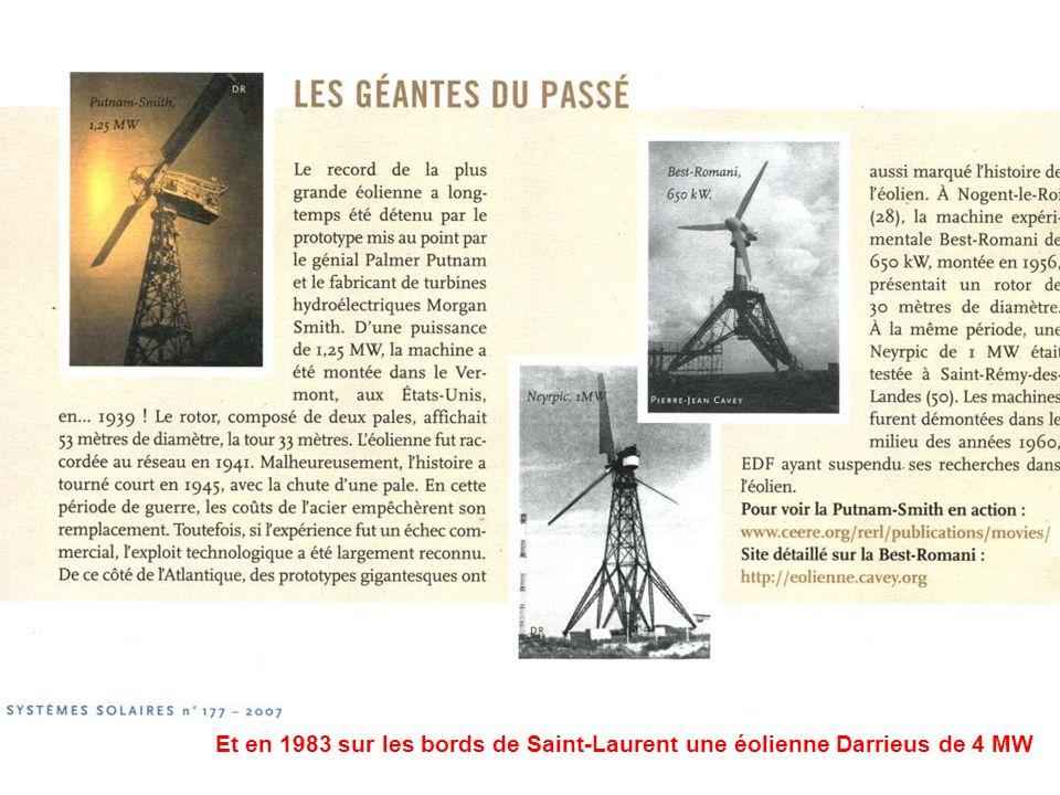 Et en 1983 sur les bords de Saint-Laurent une éolienne Darrieus de 4 MW
