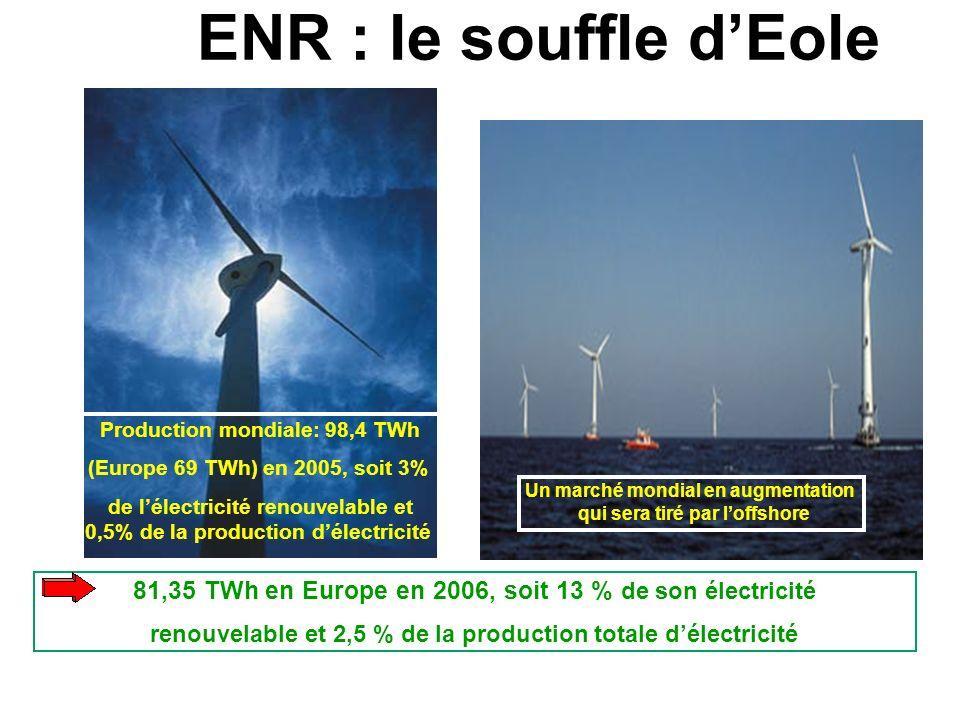 ENR : le souffle d'Eole Production mondiale: 98,4 TWh. (Europe 69 TWh) en 2005, soit 3%