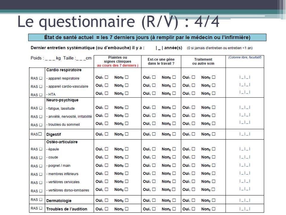 Le questionnaire (R/V) : 4/4