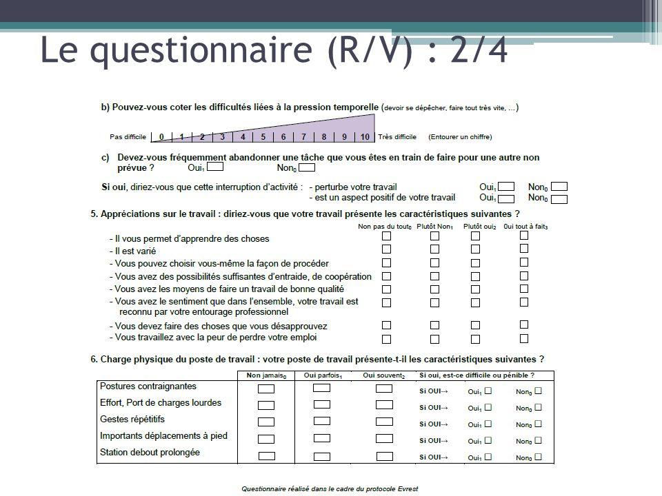 Le questionnaire (R/V) : 2/4